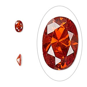 gem, cubic zirconia, ruby red, 6x4mm faceted oval, mohs hardness 8-1/2. sold per pkg of 2.