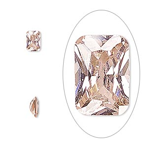 gem, cubic zirconia, sapphire rose, 6x4mm faceted emerald-cut, mohs hardness 8-1/2. sold per pkg of 2.