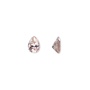 gem, cubic zirconia, sapphire rose, 7x5mm faceted pear, mohs hardness 8-1/2. sold per pkg of 2.