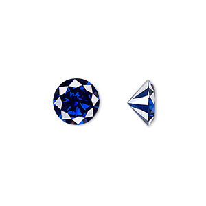 gem, cubic zirconia, spinel blue, 10mm faceted round, mohs hardness 8-1/2. sold individually.