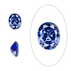 gem, cubic zirconia, spinel blue, 10x8mm faceted oval, mohs hardness 8-1/2. sold individually.