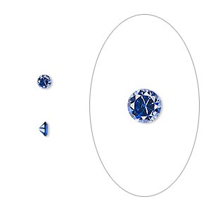 gem, cubic zirconia, spinel blue, 3mm faceted round, mohs hardness 8-1/2. sold per pkg of 5.