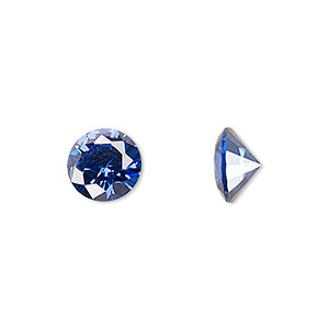 gem, cubic zirconia, spinel blue, 5mm faceted round, mohs hardness 8-1/2. sold per pkg of 2.