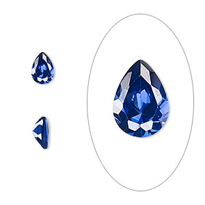 gem, cubic zirconia, spinel blue, 7x5mm faceted pear, mohs hardness 8-1/2. sold per pkg of 2.