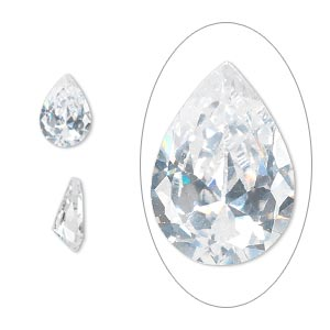gem, cubic zirconia, spinel white, 10x7mm faceted pear, mohs hardness 8-1/2. sold individually.