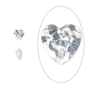 gem, cubic zirconia, spinel white, 5x5mm faceted heart, mohs hardness 8-1/2. sold per pkg of 2.
