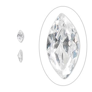gem, cubic zirconia, spinel white, 6x3mm faceted marquise, mohs hardness 8-1/2. sold per pkg of 5.