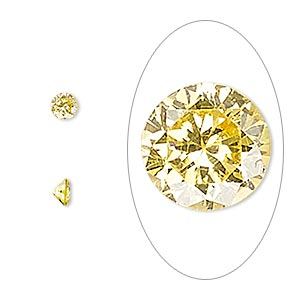 gem, cubic zirconia, topaz gold, 4mm faceted round, mohs hardness 8-1/2. sold per pkg of 5.