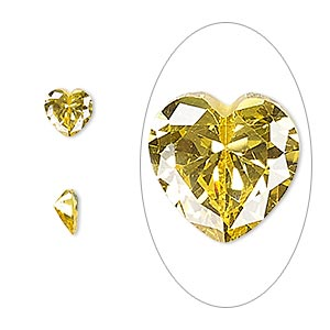gem, cubic zirconia, topaz gold, 6x6mm faceted heart, mohs hardness 8-1/2. sold per pkg of 2.