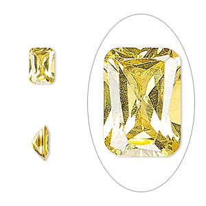 gem, cubic zirconia, topaz gold, 7x5mm faceted emerald-cut, mohs hardness 8-1/2. sold per pkg of 2.