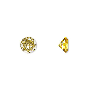 gem, cubic zirconia, topaz gold, 8mm faceted round, mohs hardness 8-1/2. sold individually.