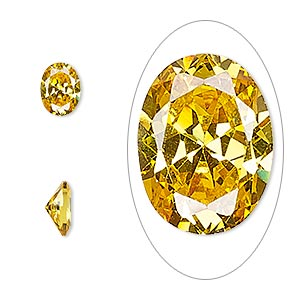 gem, cubic zirconia, topaz gold, 8x6mm faceted oval, mohs hardness 8-1/2. sold per pkg of 2.