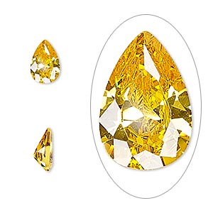 gem, cubic zirconia, topaz gold, 9x6mm faceted pear, mohs hardness 8-1/2. sold individually.