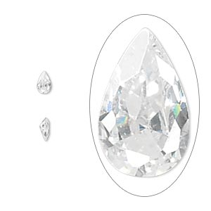 gem, cubic zirconia, white, 5x3mm faceted pear, mohs hardness 8-1/2. sold per pkg of 5.