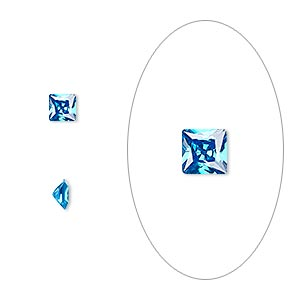 gem, cubic zirconia, zircon blue, 4x4mm faceted square, mohs hardness 8-1/2. sold per pkg of 2.
