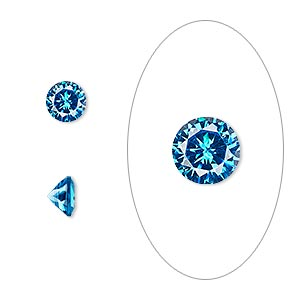 gem, cubic zirconia, zircon blue, 6mm faceted round, mohs hardness 8-1/2. sold per pkg of 2.