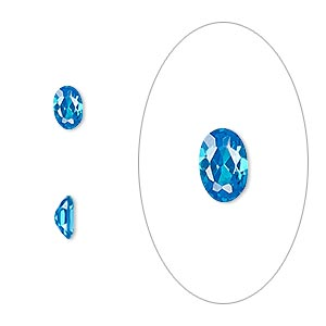 gem, cubic zirconia, zircon blue, 6x4mm faceted oval, mohs hardness 8-1/2. sold per pkg of 2.