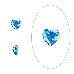 gem, cubic zirconia, zircon blue, 6x6mm faceted heart, mohs hardness 8-1/2. sold per pkg of 2.