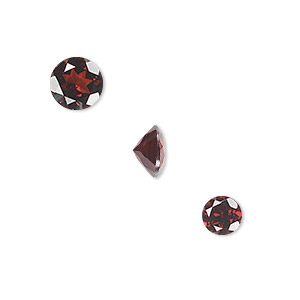 gem, garnet (natural), two 6mm and one 8mm faceted round, a grade, mohs hardness 7 to 7-1/2. sold per pkg of 3.