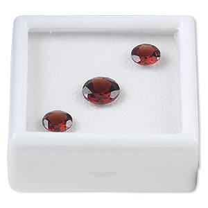 gem, garnet (natural), two 8mm and one 10mm faceted round, a grade, mohs hardness 7 to 7-1/2. sold per pkg of 3.