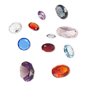 gem mix, glass, mixed colors, 5x2mm-14x10mm mixed faceted shape. sold per pkg of 10.