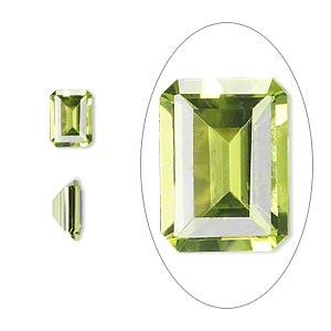 gem, peridot (natural), 8x6mm faceted emerald-cut, a grade, mohs hardness 6-1/2 to 7. sold individually.
