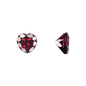 gem, rhodolite garnet (natural), 10x10mm faceted heart, a grade, mohs hardness 7 to 7-1/2. sold individually.