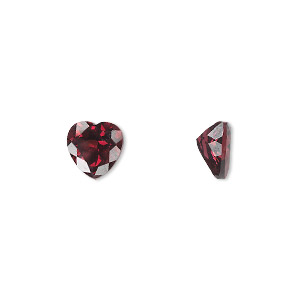gem, rhodolite garnet (natural), 7x7mm faceted heart, a grade, mohs hardness 7 to 7-1/2. sold individually.