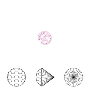 gem, skyrocket cut, cubic zirconia, pink, 6.5mm faceted round, mohs hardness 8-1/2. sold individually.