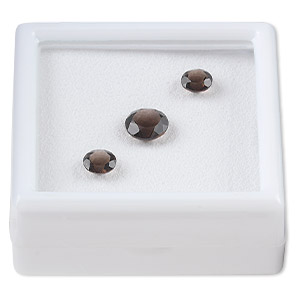 gem, smoky quartz (heated / irradiated), (2) 6mm and (1) 8mm faceted round, a grade, mohs hardness 7. sold per pkg of 3.