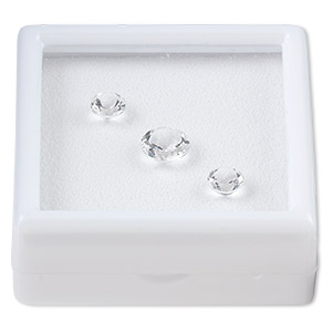 gem, white topaz (natural), two 6mm and one 8mm faceted round, a grade, mohs hardness 8. sold per pkg of 3.