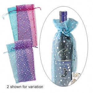 gift, bottle cover, organza, turquoise blue and purple, 13-1/2x6 inches with holographic bubble pattern. sold per pkg of 6.