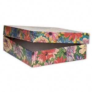 gift box, metallic floral, 3-1/2 x 3-1/2 x 1 inch square with cotton filling. sold per pkg of 10.