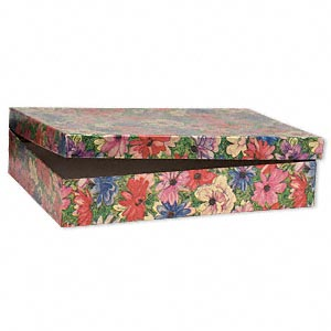 gift box, metallic floral, 7 x 5 x 1-1/4 inch rectangle with cotton filling. sold per pkg of 100.