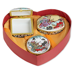 gift box mix, porcelain / acrylic / gold-finished pewter (zinc-based alloy), white and multicolored, 1-1/2 x 1 to 3x2-inch hinged mixed shape with geisha decal. sold per 3-piece set.