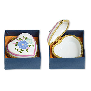 gift box mix, porcelain / acrylic / gold-finished pewter (zinc-based alloy), white and multicolored, 1-1/2 x 1 to 3x2-inch hinged mixed shape with flower and heart decal. sold individually.