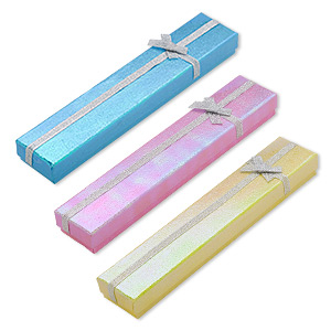 gift box, paper / organza / foam, pink / blue / yellow shimmer, 8-1/2 x 1-1/2 x 3/4 inch rectangle. sold per pkg of 12.