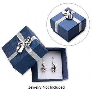 gift box, paper and foam, blue / silver / white, 1-7/8 x 1-7/8 x 1-3/8 inch square with ribbon and bow. sold per pkg of 12.
