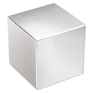gift box, paper, shiny silver, 3x3 inch square. sold per pkg of 3.