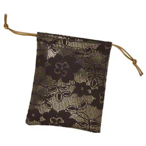 gift pouch, polyester, black and gold, 3-1/2 x 2-3/4 inches with drawstring. sold per pkg of 12.