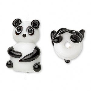 glass sitting panda beads, black/white, 22x15mm. sold per pkg of 2.
