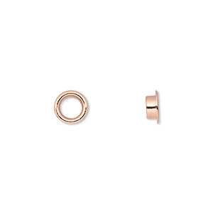 grommet, glue-in, copper-plated brass, 7mm round, 5mm inside diameter. sold per pkg of 100.
