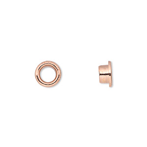 grommet, glue-in, copper-plated brass, 8mm round, 5mm inside diameter. sold per pkg of 100.