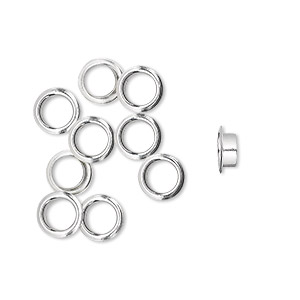 grommet, glue-in, sterling silver, 5x2.5mm round, 4.5mm inside diameter. sold per pkg of 10.