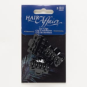 hair clip, plastic and steel, black, 27x24mm. sold per pkg of 3.