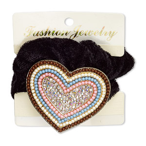 hair tie, stretch, acrylic / glass rhinestone / velvet / gold-finished pewter (zinc-based alloy), multicolored, 53x46mm heart. sold individually.