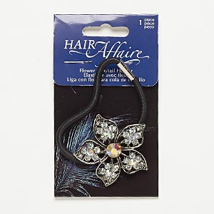 hair tie, stretch, nylon / acrylic / glass rhinestone / antiqued silver-finished steel / pewter (zinc-based alloy), clear ab / black / clear, 3.5mm wide with 43x39mm flower, up to 7 inches. sold individually.