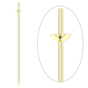 headpin, 14kt gold-filled, 24 gauge, 1-1/2 inches long, cup with peg. sold per pkg of 4.