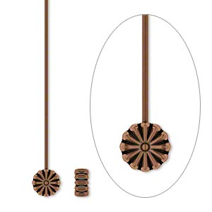 headpin, antique copper-plated pewter (zinc-based alloy), 2 inches with 6x6mm flower, 21 gauge. sold per pkg of 20.