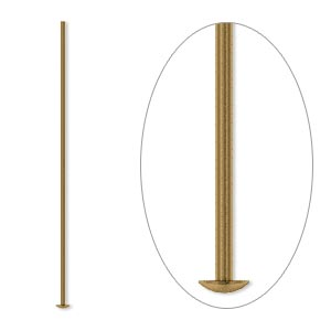 headpin, antique gold-plated brass, 1-1/2 inches, 21 gauge. sold per pkg of 100.